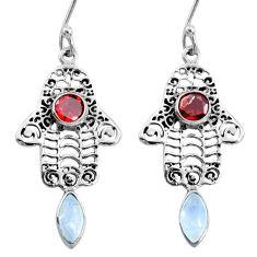 925 silver 5.16cts natural rainbow moonstone hand of god hamsa earrings r73024