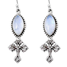 925 silver 10.80cts natural rainbow moonstone holy cross earrings jewelry r66536