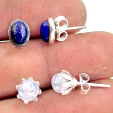 925 silver 5.54cts natural rainbow moonstone lapis lazuli stud earrings r41284