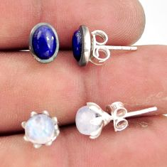 925 silver 5.43cts natural rainbow moonstone lapis lazuli stud earrings r41300