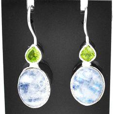 925 silver 10.05cts natural rainbow moonstone peridot dangle earrings t5999