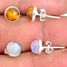 925 silver 6.65cts natural rainbow moonstone tiger's eye stud earrings r81555