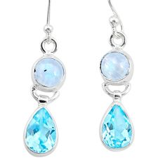 925 silver 8.51cts natural rainbow moonstone topaz dangle earrings r87104