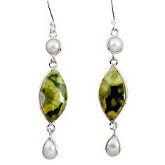 925 silver 15.34cts natural rainforest rhyolite jasper dangle earrings d39548