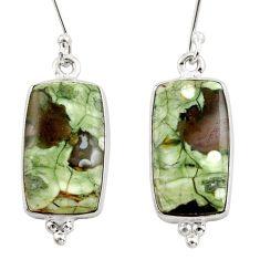 925 silver 15.05cts natural rainforest rhyolite jasper dangle earrings d39935