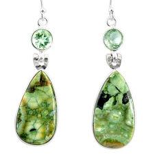 925 silver 21.01cts natural rainforest rhyolite jasper dangle earrings r75504