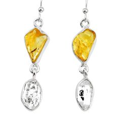 925 silver 11.57cts natural raw citrine herkimer diamond dangle earrings r74348