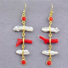 10.28cts natural red coral pearl 14k gold dangle earrings jewelry t10924