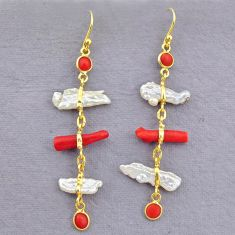 10.67cts natural red coral pearl 14k gold handmade dangle earrings t10927