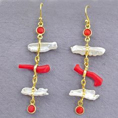 11.40cts natural red coral pearl 14k gold handmade dangle earrings t10935