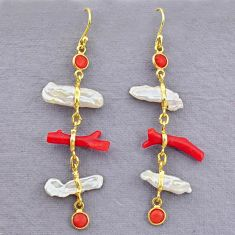 10.84cts natural red coral pearl 14k gold handmade dangle earrings t10938