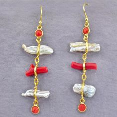925 silver 12.01cts natural red coral pearl 14k gold dangle earrings t10944