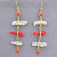 10.67cts natural red coral pearl 14k gold handmade dangle earrings t10953