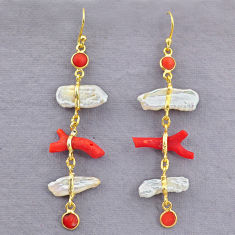 13.13cts natural red coral pearl 14k gold dangle earrings jewelry t10960