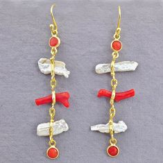 9.74cts natural red coral white pearl 14k gold dangle earrings t10957
