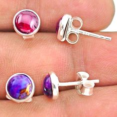 925 silver 3.98cts natural red garnet copper turquoise stud earrings t23887