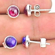 925 silver 4.07cts natural red garnet copper turquoise stud earrings t23904