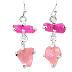 925 silver 9.72cts natural red ruby rough rose quartz raw earrings t25609