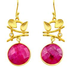 925 silver 18.98cts natural red ruby topaz 14k gold dangle earrings r32888