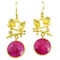 11.21cts natural red ruby topaz 14k gold handmade dangle earrings t11534