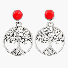 925 silver natural red sponge coral tree of life earrings jewelry c11632