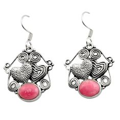 Clearance Sale- 925 silver 6.35cts natural rhodochrosite inca rose couple hearts earrings d40870