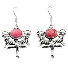 Clearance Sale- 925 silver 6.49cts natural rhodochrosite inca rose dragonfly earrings d40873