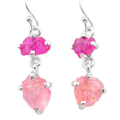 925 silver 9.05cts natural ruby rough rose quartz raw earrings jewelry t25606