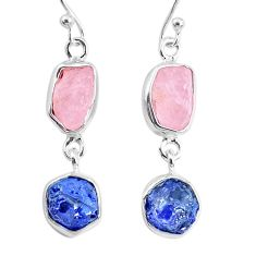 925 silver 10.30cts natural sapphire rose quartz raw dangle earrings r74272
