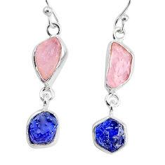925 silver 9.37cts natural sapphire rose quartz raw dangle earrings r74278