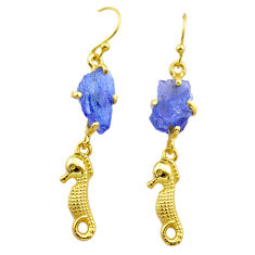 925 silver 9.39cts natural tanzanite rough 14k gold seahorse earrings t29795