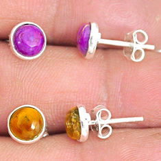 925 silver 5.20cts natural tiger's eye copper turquoise stud earrings r81614