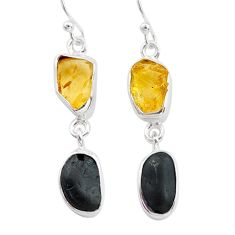 925 silver 11.25cts natural tourmaline raw citrine raw earrings t21156