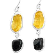 925 silver 13.55cts natural tourmaline raw citrine raw earrings t21157
