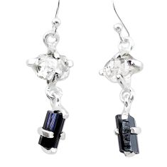 925 silver 9.07cts natural tourmaline rough herkimer diamond earrings t25673
