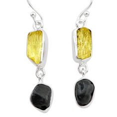 925 silver 9.39cts natural tourmaline raw scapolite dangle earrings t21133