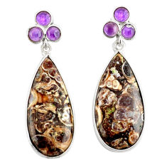 Clearance Sale- 925 silver 20.40cts natural turritella fossil snail agate dangle earrings d39679