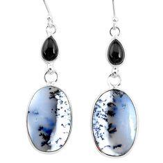 925 silver 17.29cts natural white dendrite opal (merlinite) onyx earrings r86687