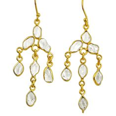 925 silver 9.65cts natural white herkimer diamond 14k gold earrings r64184