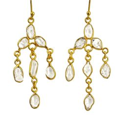 925 silver 11.08cts natural white herkimer diamond 14k gold earrings r64198