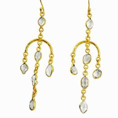 925 silver 12.62cts natural white herkimer diamond 14k gold earrings r64204