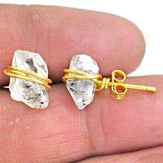 7.80cts natural white herkimer diamond 14k gold handmade stud earrings t6484