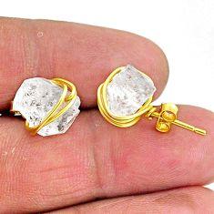 10.09cts natural white herkimer diamond 14k gold handmade stud earrings t6487