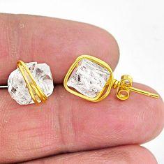 9.45cts natural white herkimer diamond 14k gold stud earrings t6491