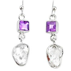 925 silver 9.00cts natural white herkimer diamond amethyst earrings r69552