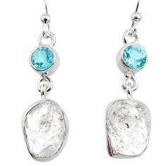 925 silver 11.89cts natural white herkimer diamond blue topaz earrings r65687