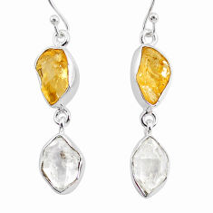 925 silver 12.63cts natural white herkimer diamond citrine raw earrings r93677