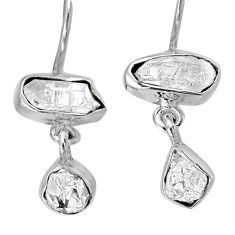 925 silver 11.53cts natural white herkimer diamond dangle earrings r61492