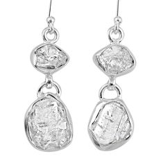 925 silver 12.39cts natural white herkimer diamond dangle earrings r61496