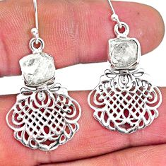 925 silver 11.27cts natural white herkimer diamond dangle earrings r61532